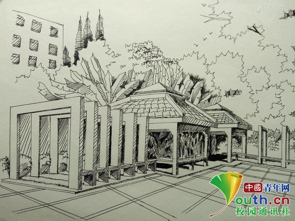 安徽高校大学生手绘校园风景 表白学校-女大学生手绘 春运故事
