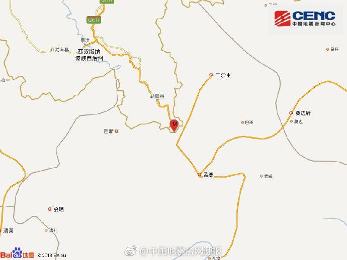 云南西双版纳州勐腊县连发4.6级,3.1级地震