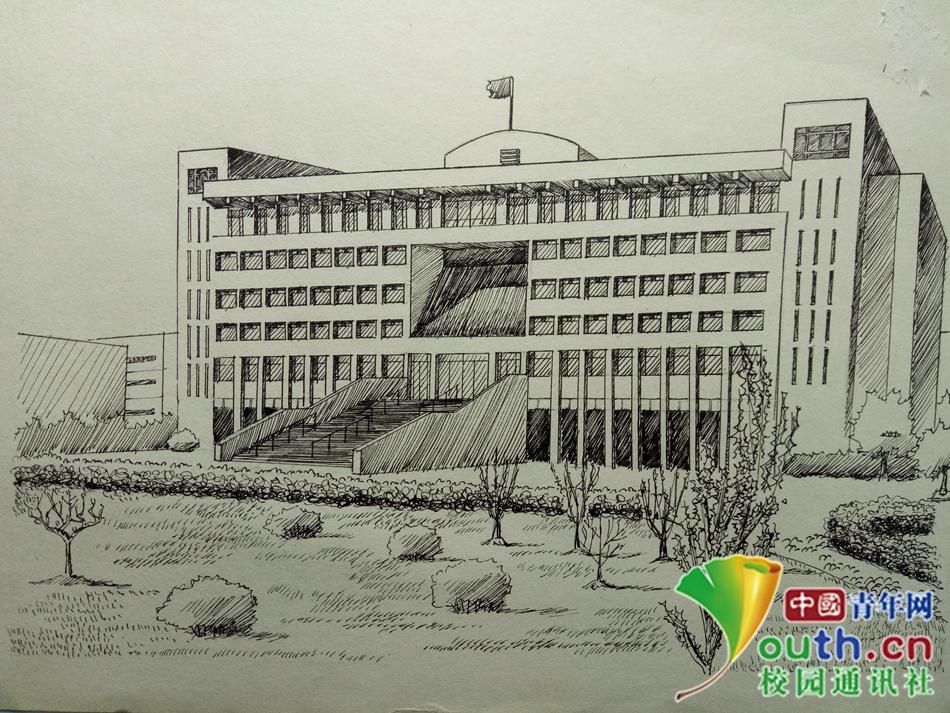 安徽高校大学生手绘校园风景 表白学校