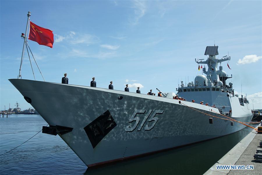 """当地时间15日,中国海军第二十九批护航编队滨州舰抵达德国基尔军港,开始进行友好访问并参加""""基尔周""""活动。"""
