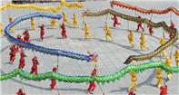 La danza del dragón para el Festival de Botes de Dragón en Hebei